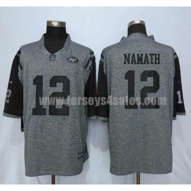 Men's New York Jets #12 Joe Namath Grey Stitched Nike NFL Gridiron Gray Limited Jersey