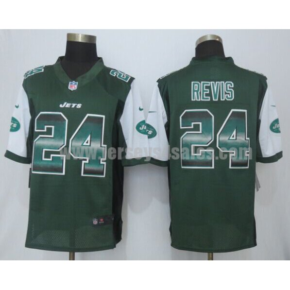 Men's New York Jets #24 Darrelle Revis Green Team Color Stitched Strobe Nike NFL Limited Jersey