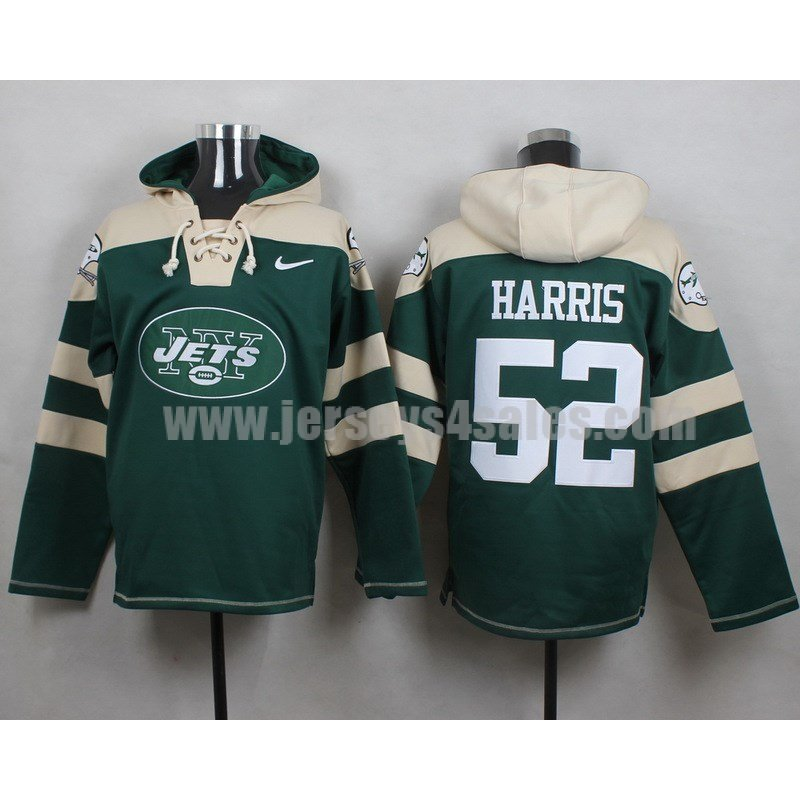 Men's New York Jets #52 David Harris Big Log Lace-Up NFL Hoodie - Green