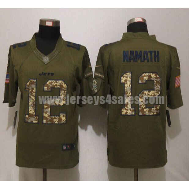 Men's New York Jets #12 Joe Namath Green Stitched Nike NFL Salute To Service Limited Jersey