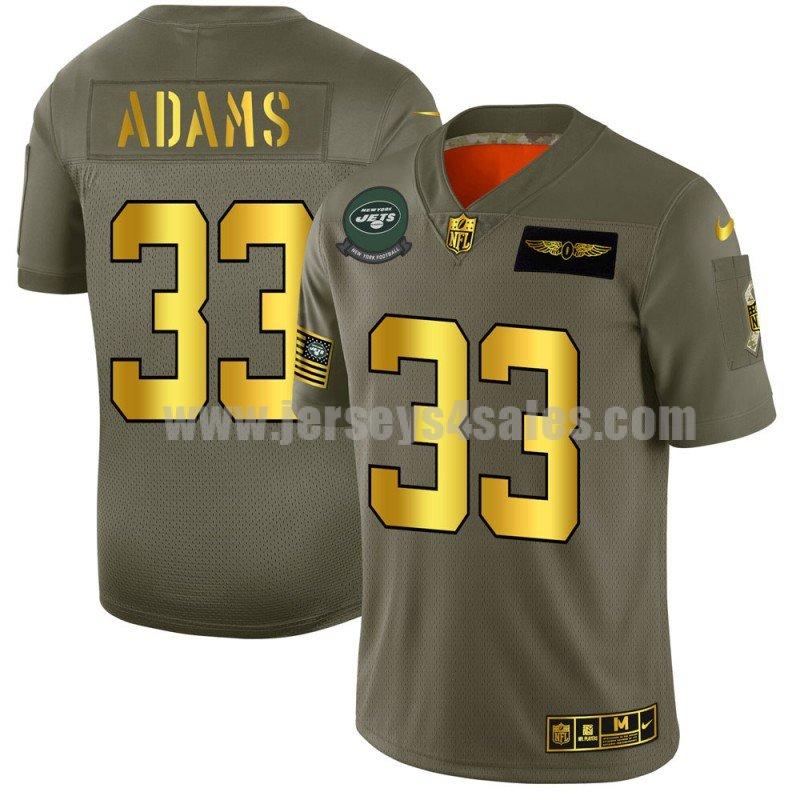 Men's New York Jets #33 Jamal Adams Nike Olive/Gold 2019 Salute to Service Limited Jersey