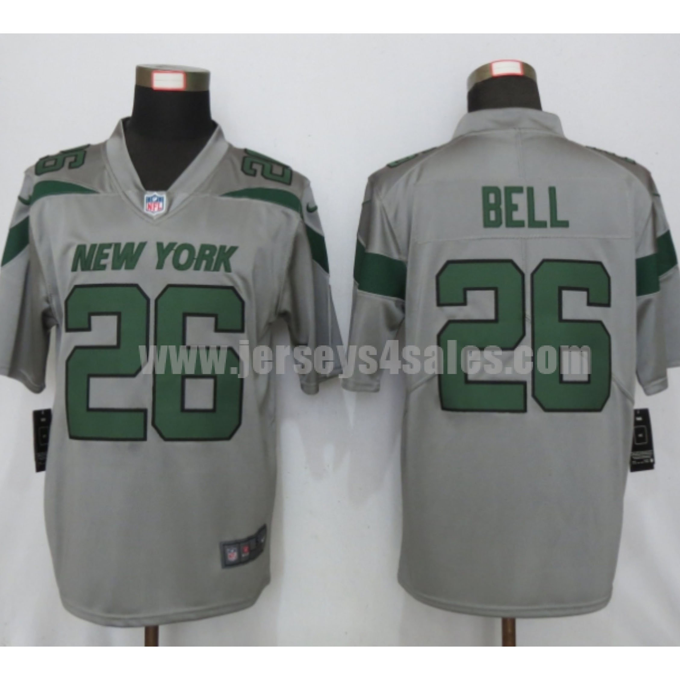Men's New York Jets #26 Le'Veon Bell Nike Gray Inverted Legend Jersey