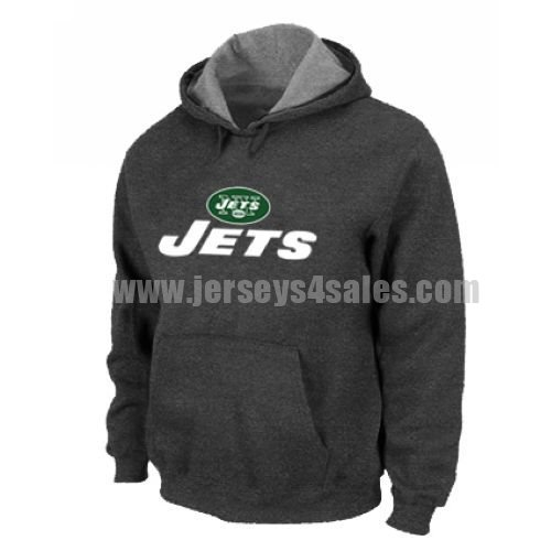 New York Jets Authentic Logo Pullover Hoodie Dark Grey