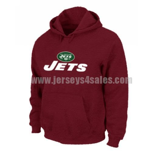 New York Jets Authentic Logo Pullover Hoodie Red