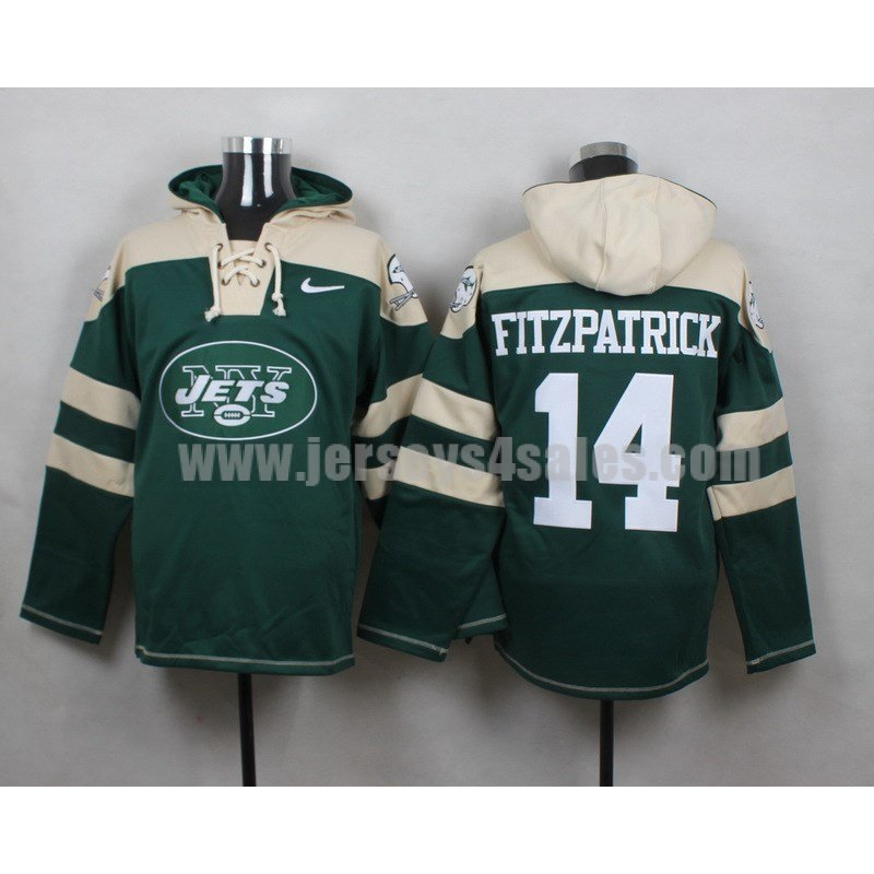 Men's New York Jets #14 Ryan Fitzpatrick Big Log Lace-Up NFL Hoodie - Green