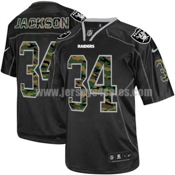 Nike Raiders #34 Bo Jackson Black Men's Stitched NFL Elite Camo Fashion Jersey