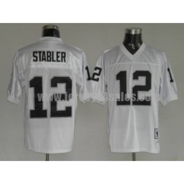 Mitchell and Ness Raiders Kenny Stabler #12 Stitched White NFL Jersey