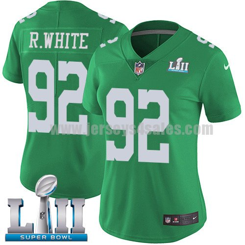Nike Eagles #92 Reggie White Green Super Bowl LII Women's Stitched NFL Limited Rush Jersey