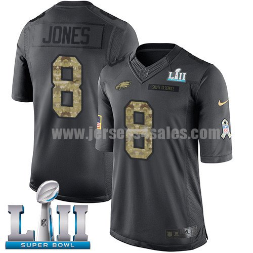 Nike Eagles #8 Donnie Jones Black Super Bowl LII Men's Stitched NFL Limited 2016 Salute To Service Jersey