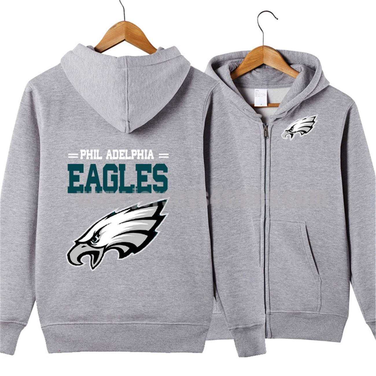 Men's Long Sleeve Hooded Letters Print Philadelphia Eagles Football Team Solid Color Zipper HOODIES