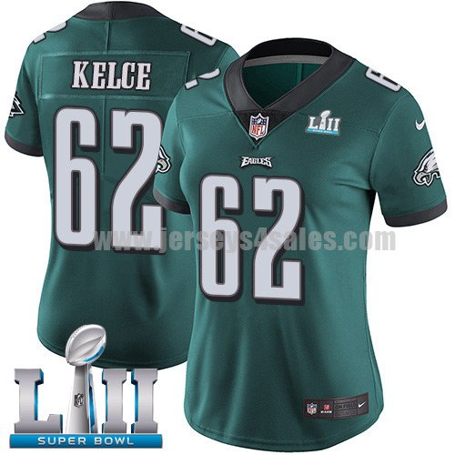 Nike Eagles #62 Jason Kelce Midnight Green Team Color Super Bowl LII Women's Stitched NFL Vapor Untouchable Limited Jersey