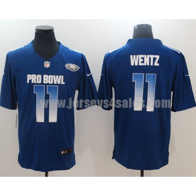 Men's Nike Philadelphia Eagles #11 Carson Wentz NFC Royal 2019 Pro Bowl Limited Jersey