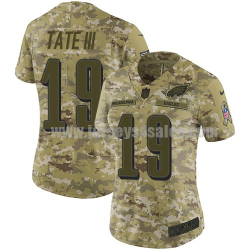 Nike Philadelphia Eagles #19 Golden Tate III Camo Women's Stitched NFL Limited 2018 Salute to Service Jersey