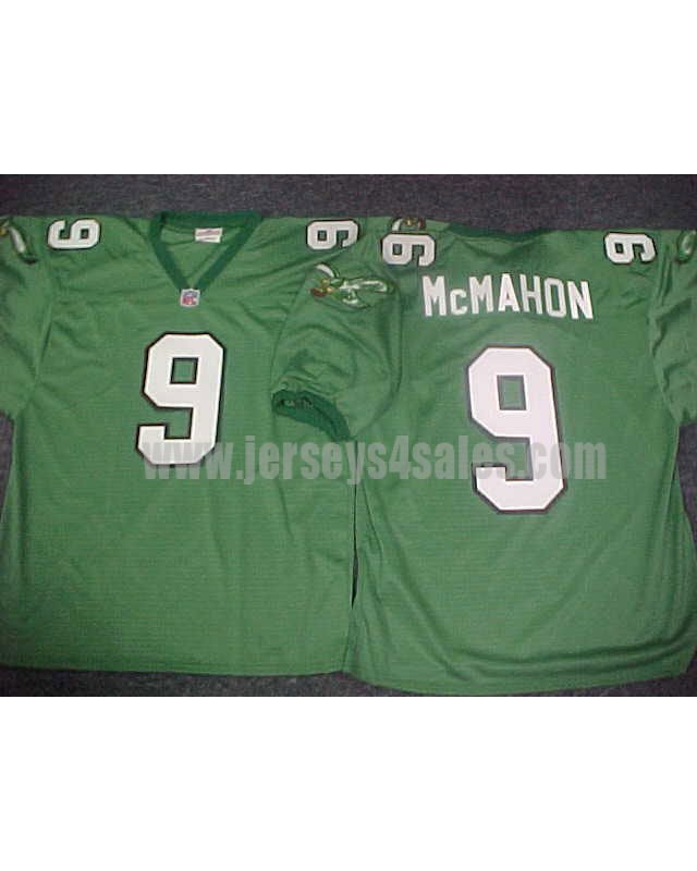 Men's Philadelphia Eagles #9 Jim McMahon Green Stitched 1990's Throwback NFL Jersey