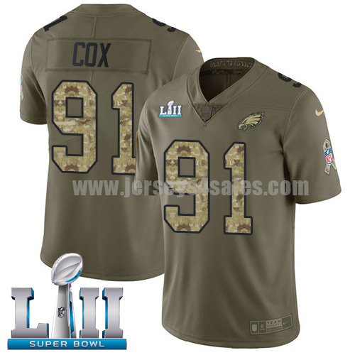 Nike Eagles #91 Fletcher Cox Olive/Camo Super Bowl LII Youth Stitched NFL Limited 2017 Salute to Service Jersey