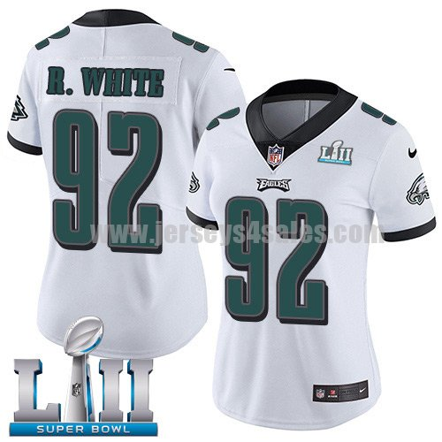 Nike Eagles #92 Reggie White White Super Bowl LII Women's Stitched NFL Vapor Untouchable Limited Jersey