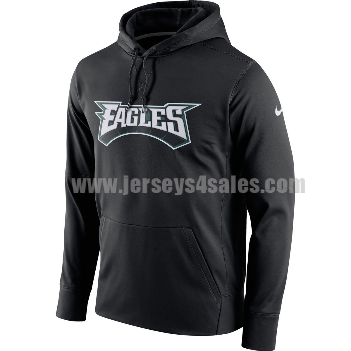 Men's Philadelphia Eagles Black Nike Circuit Wordmark Essential Performance NFL Pullover Hoodie