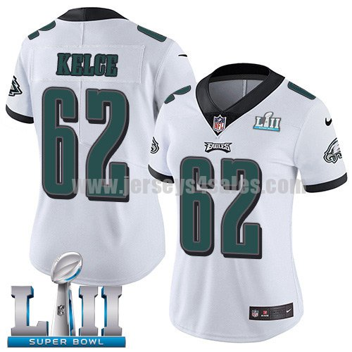 Nike Eagles #62 Jason Kelce White Super Bowl LII Women's Stitched NFL Vapor Untouchable Limited Jersey