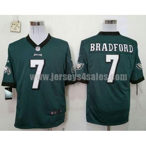 Men's Nike #7 Sam Bradford Midnight Green Team Color Philadelphia Eagles Stitched NFL Game Jersey