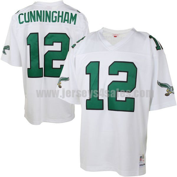 Men's Philadelphia Eagles #12 Randall Cunningham White Stitched NFL Throwback Jersey