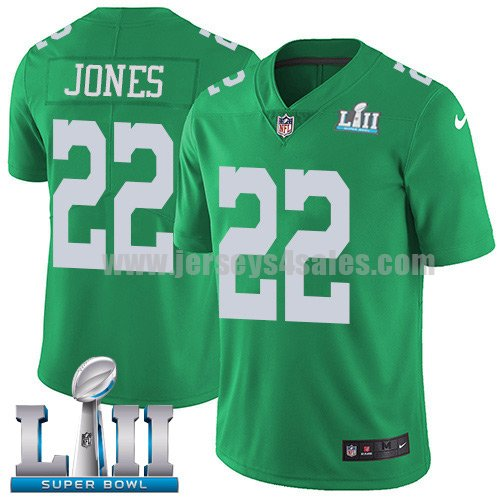 Nike Eagles #22 Sidney Jones Green Super Bowl LII Youth Stitched NFL Limited Rush Jersey