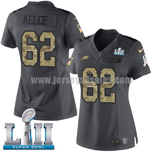 Nike Eagles #62 Jason Kelce Black Super Bowl LII Women's Stitched NFL Limited 2016 Salute to Service Jersey