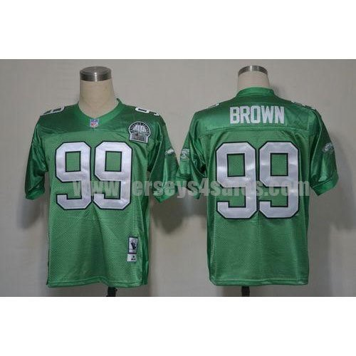 Mitchell And Ness Eagles #99 Jerome Brown Green Stitched Throwback NFL Jersey