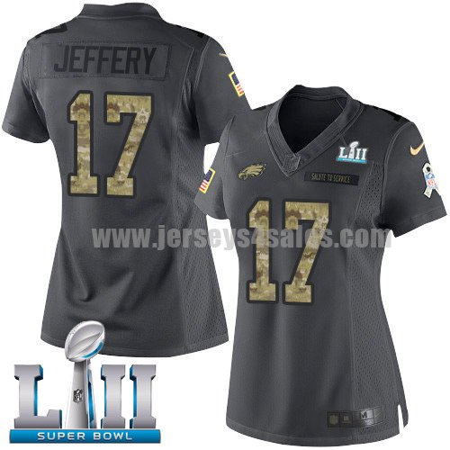 Nike Eagles #17 Alshon Jeffery Black Super Bowl LII Women's Stitched NFL Limited 2016 Salute to Service Jersey