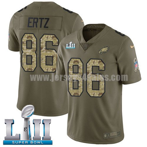 Nike Eagles #86 Zach Ertz Olive/Camo Super Bowl LII Men's Stitched NFL Limited 2017 Salute To Service Jersey