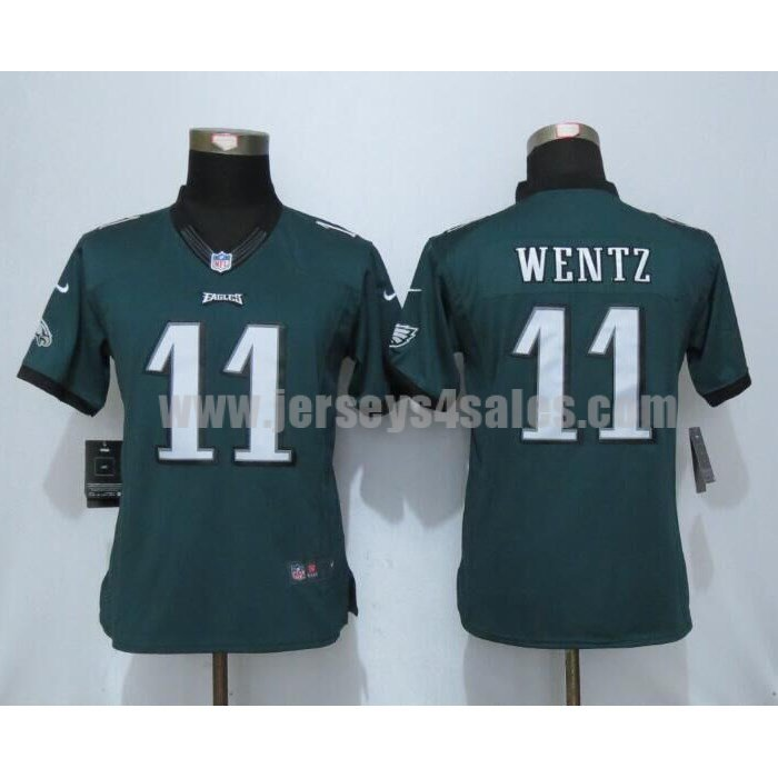Women's Philadelphia Eagles #11 Carson Wentz Green Stitched Nike NFL Home Limited Jersey