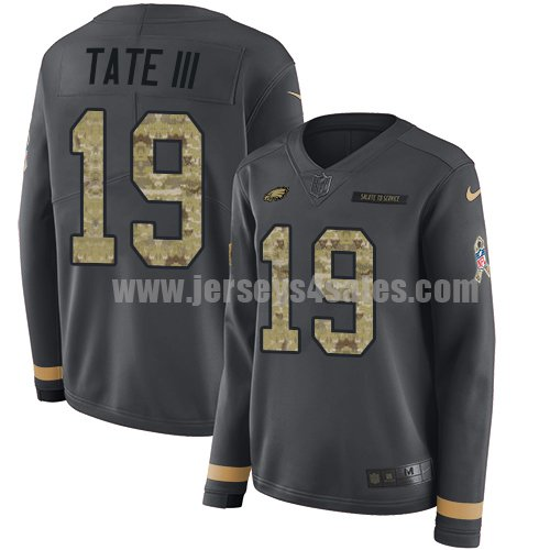 Nike Philadelphia Eagles #19 Golden Tate III Anthracite Salute to Service Women's Stitched NFL Limited Therma Long Sleeve Jersey
