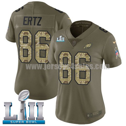 Nike Eagles #86 Zach Ertz Olive/Camo Super Bowl LII Women's Stitched NFL Limited 2017 Salute to Service Jersey