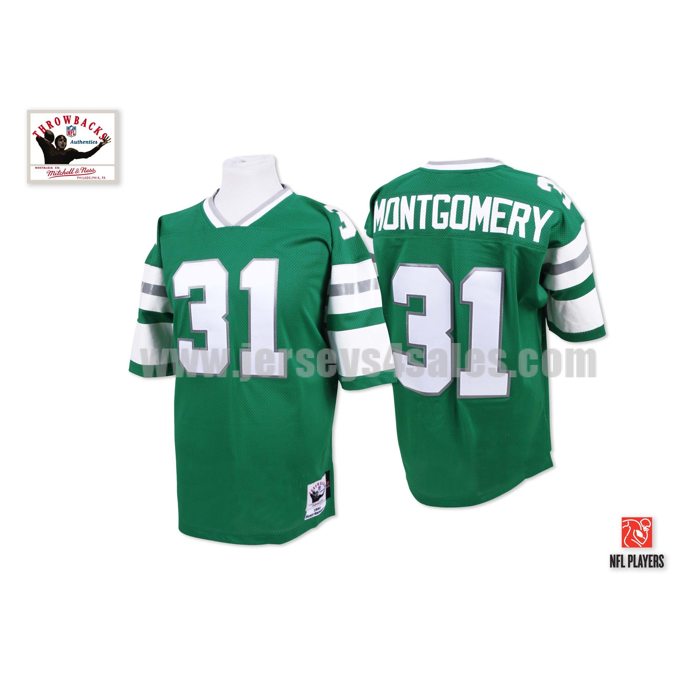 Men's Philadelphia Eagles #31 Wilbert Montgomery Green Stitched Mitchell And Ness Throwback NFL Jersey