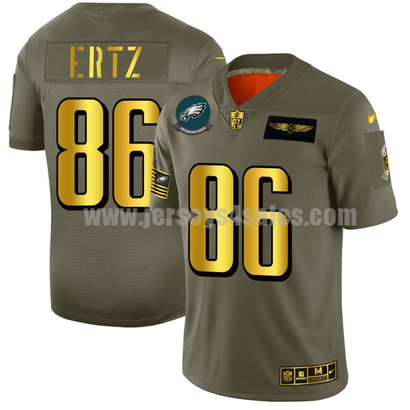 Men's Philadelphia Eagles #86 Zach Ertz Nike Olive/Gold 2019 Salute to Service Limited Jersey