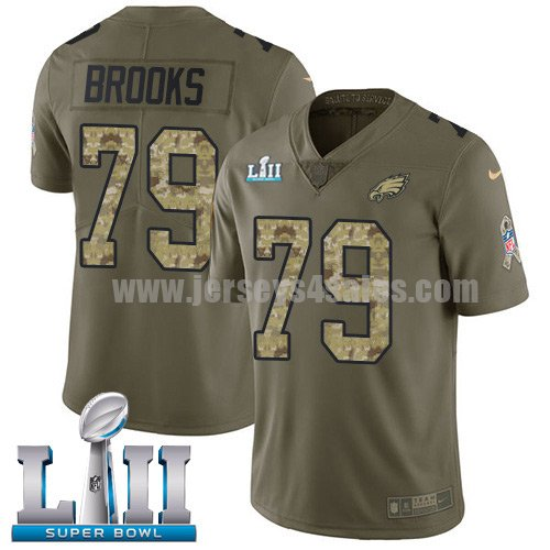 Nike Eagles #79 Brandon Brooks Olive/Camo Super Bowl LII Youth Stitched NFL Limited 2017 Salute to Service Jersey