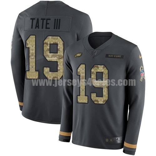 Nike Philadelphia Eagles #19 Golden Tate III Anthracite Salute to Service Men's Stitched NFL Limited Therma Long Sleeve Jersey