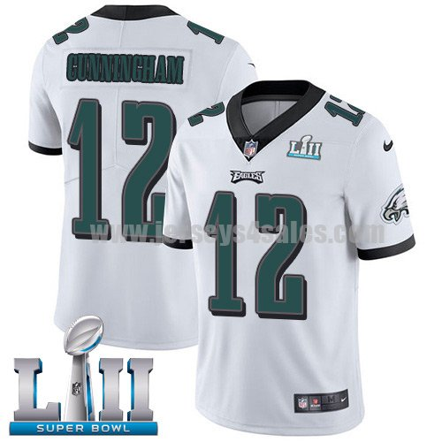 Nike Eagles #12 Randall Cunningham White Super Bowl LII Men's Stitched NFL Vapor Untouchable Limited Jersey