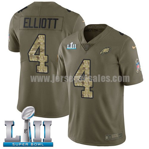 Nike Eagles #4 Jake Elliott Olive/Camo Super Bowl LII Youth Stitched NFL Limited 2017 Salute to Service Jersey