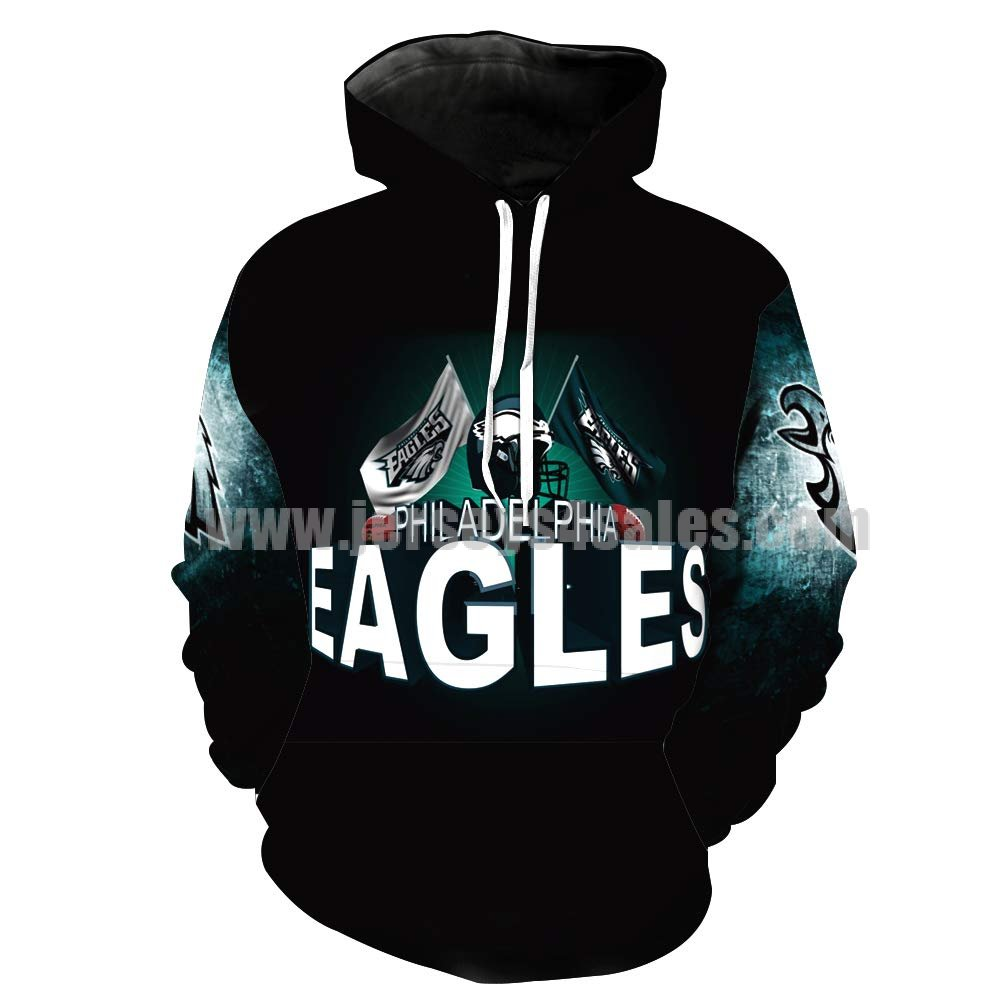 Men's Hooded Long Sleeve 3D Digital Print Philadelphia Eagles Football Team Sports Pullover HOODIES