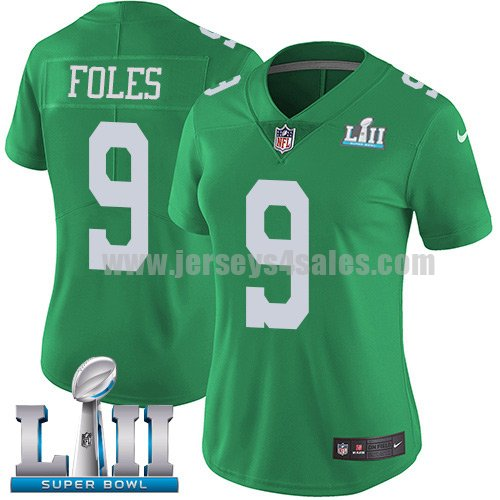 Nike Eagles #9 Nick Foles Green Super Bowl LII Women's Stitched NFL Limited Rush Jersey