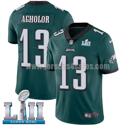 Nike Eagles #13 Nelson Agholor Midnight Green Team Color Super Bowl LII Men's Stitched NFL Vapor Untouchable Limited Jersey
