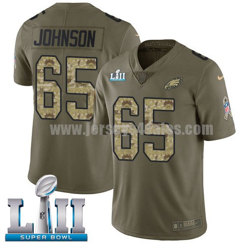 Nike Eagles #65 Lane Johnson Olive/Camo Super Bowl LII Youth Stitched NFL Limited 2017 Salute to Service Jersey