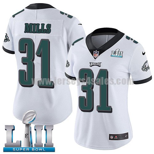 Nike Eagles #31 Jalen Mills White Super Bowl LII Women's Stitched NFL Vapor Untouchable Limited Jersey