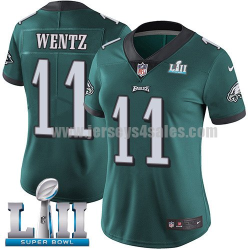 Nike Eagles #11 Carson Wentz Midnight Green Team Color Super Bowl LII Women's Stitched NFL Vapor Untouchable Limited Jersey