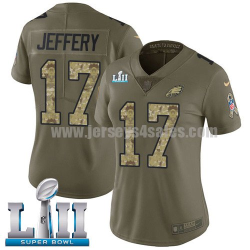 Nike Eagles #17 Alshon Jeffery Olive/Camo Super Bowl LII Women's Stitched NFL Limited 2017 Salute to Service Jersey