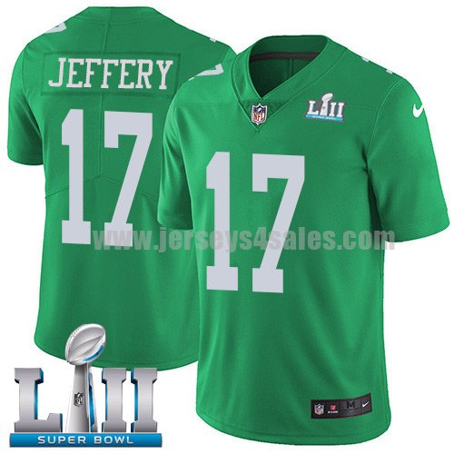 Nike Eagles #17 Alshon Jeffery Green Super Bowl LII Men's Stitched NFL Limited Rush Jersey