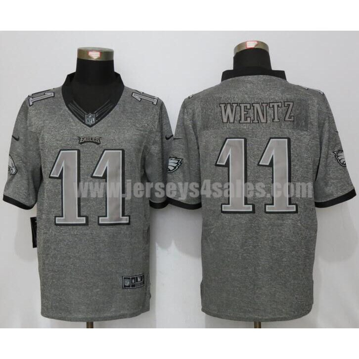 Men's Philadelphia Eagles #11 Carson Wentz Grey Stitched Nike NFL Gridiron Gray Limited Jersey