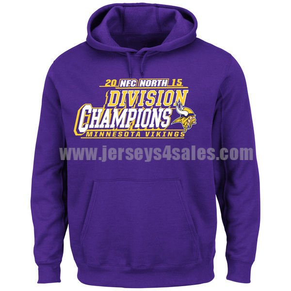 Men's Minnesota Vikings Purple 2015 NFC North Division Champions Pullover Majestic NFL Hoodie