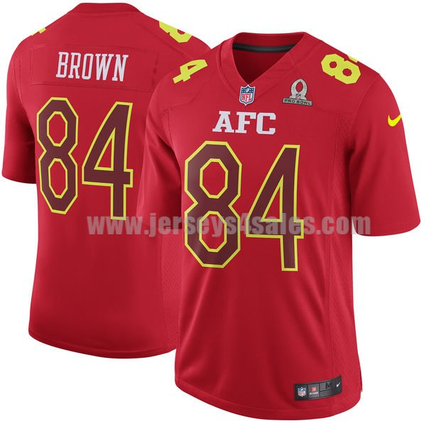 Men's Pittsburgh Steelers #84 Antonio Brown Red Stitched Nike NFL 2017 Pro Bowl AFC Game Jersey