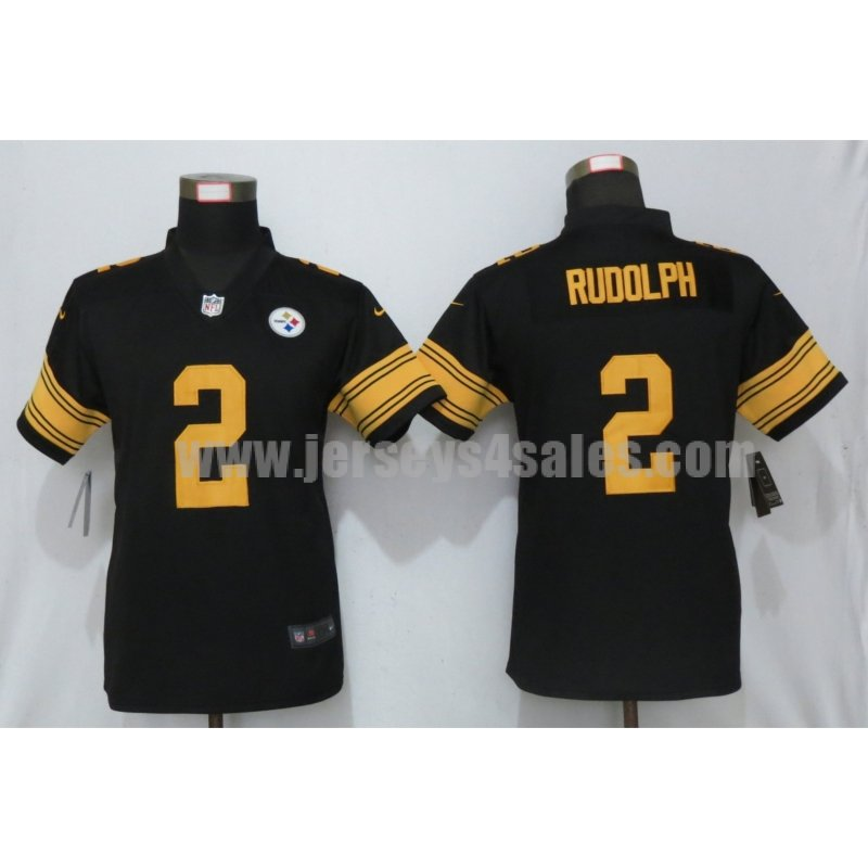 Women's Pittsburgh Steelers #2 Mason Rudolph Black Nike NFL Color Rush Limited Jersey